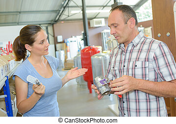 a customer in hardware store