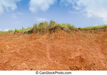 A cut of soil with different layers visible and grass on top