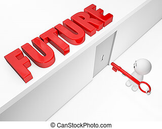 a cute 3D guy attains its future (3D happyman isolated series)