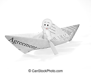 a cute 3d guy sails in a contract (3d isolated happyman series)