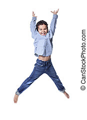 A cute african american little boy jump isolated on white backgr