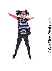 A cute african american little girl jump isolated on white backgr