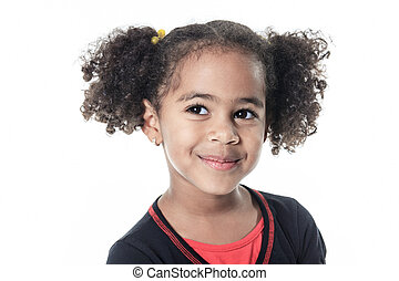 A cute african american on white background