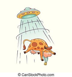 A cute and funny cartoon farm cow is abducted by aliens and UFO on a flying saucer.