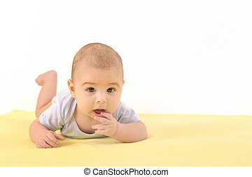 A cute baby boy on white background