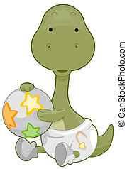 Baby Brontosaurus - A Cute Baby Brontosaurus Holding a Ball ...