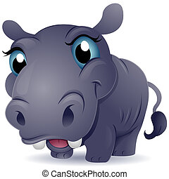 Baby Hippo - A Cute Baby Hippo with an Oversized Head and...