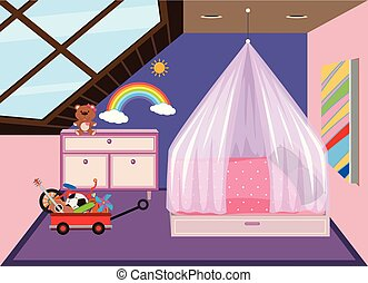A cute bedroom at the attic illustration