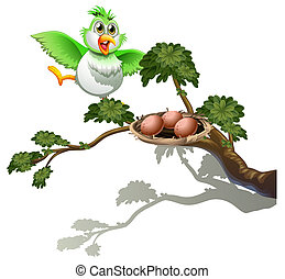 A cute bird at the branch of a tree with a nest