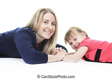 A cute blond, mother with his little girl