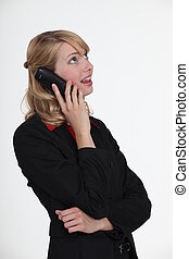 A cute blond over the phone.