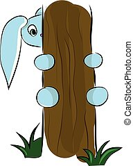 A cute blue cartoon hare trying to climb up the tree vector color drawing or illustration