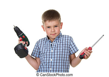 A cute boy builder in checkered shirt demonstrates the difficulty of choosing a tool, isolated on white background