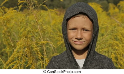 A cute boy in a gray sweater with a hood in the open air - A...