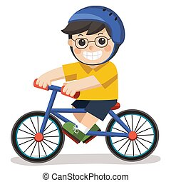 A Cute Boy with glasses. He riding a bicycle on a white background.