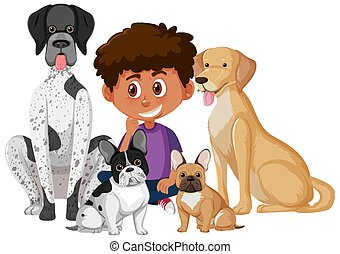 A cute boy with his dogs on white background