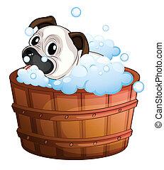 A cute bulldog inside the bathtub