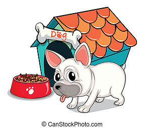A cute bulldog outside the doghouse - Illustration of a cute...
