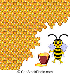 A cute cartoon bee with a honey pot surrounded by honeycombs...