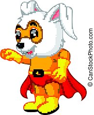 A cute cartoon superhero Easter Bunny