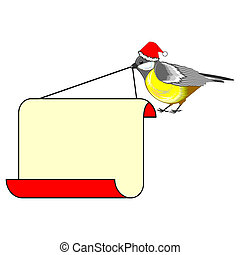 A cute Christmas bird (titmouse) with a big blank paper in its beak. Vector-art illustration on a white background