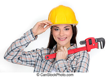 A cute construction worker with a wrench.