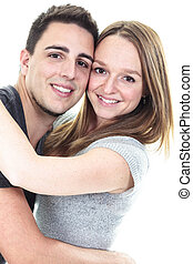 A Cute couple on studio white background