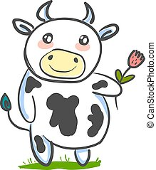 A cute cow, vector or color illustration.
