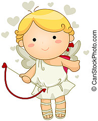 A Cute Cupid with Clipping Path
