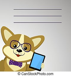 A cute dog Corgi with glasses and a bow tie is holding a tablet.