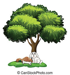 A cute dog under the tree