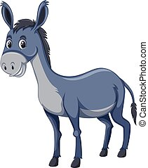 A cute donkey on white background