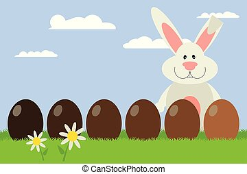 cute Easter bunny with chocolate eggs