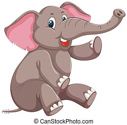 A cute elephant on white background