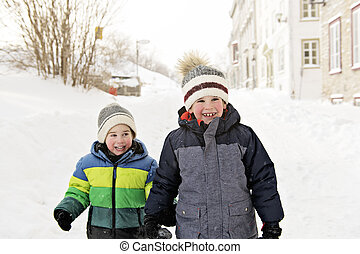A cute family brother in winter season