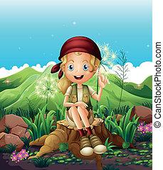 A cute female explorer sitting above the stump -...