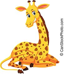 A cute giraffe on white background