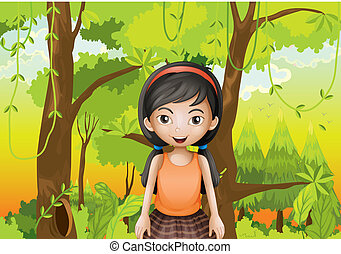 A cute girl at the forest with an orange sando -...