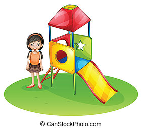 A cute girl at the playground - Illustration of a cute girl...