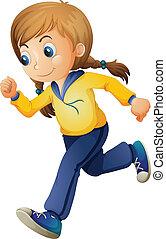 A cute girl jogging