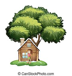 A cute girl outside the wooden house under the tree