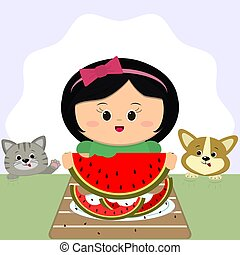 A cute girl with a red bow sits at a table and eats a watermelon. On a plate of watermelon peel, a cat and a dog next door.