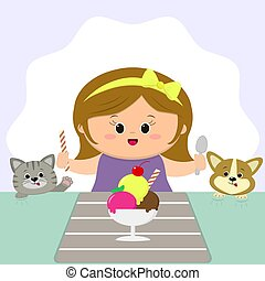 A cute girl with an yellow bow sits at a table and eats an ice cream. A cat and a dog are watching.