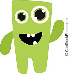 A cute green monster vector or color illustration