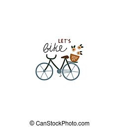 A cute hand drawn bicycle in vintage.