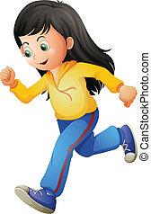 A cute lady running