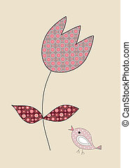 A cute, little bird and a tulip on beige, illustration
