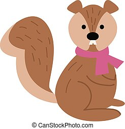 A cute little cartoon squirrel wearing a rose-colored scarf around its neck vector or color illustration