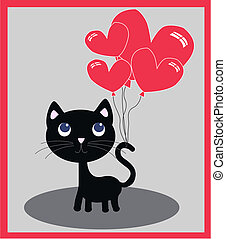 a cute little cat with balloons