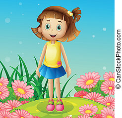 A cute little girl at the hilltop surrounded with flowers -...